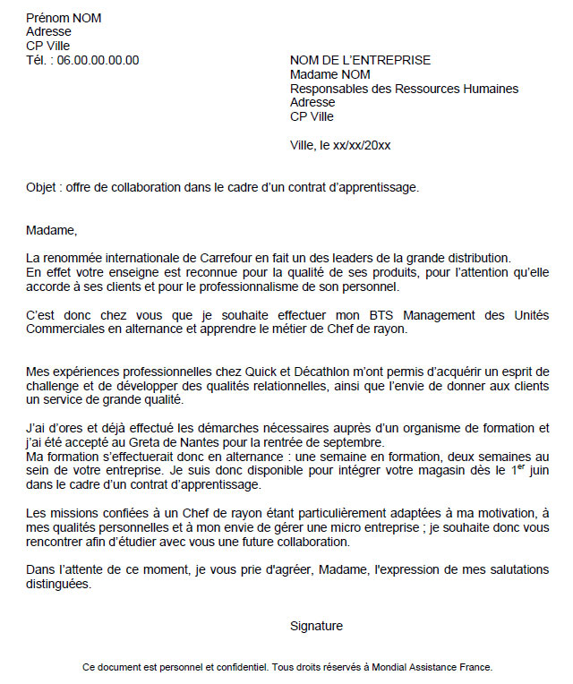 Lettre De Motivation Template: Cover Letter Example: Exemple De Lettre De Motivation Pour