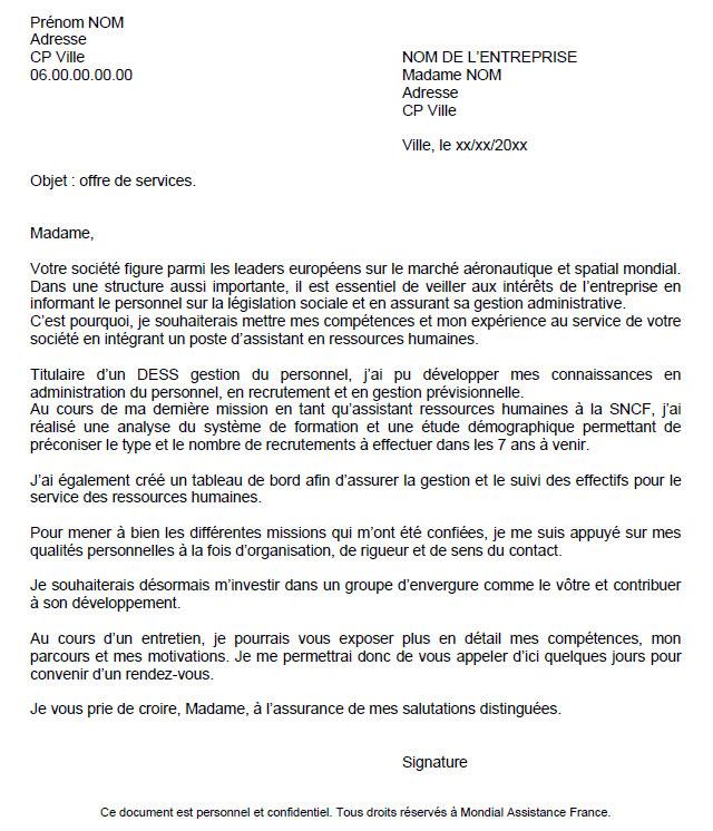 lettre de candidature spontan u00e9e