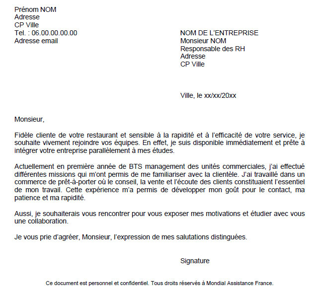 lettre de motivation contrat etudiant