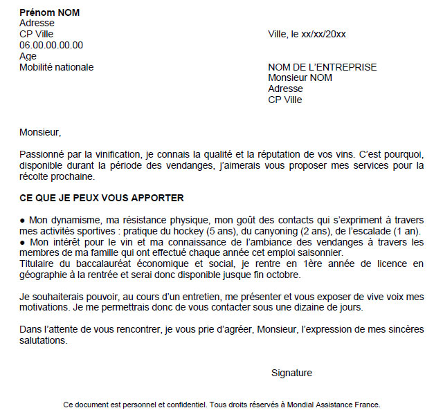 lettre de motivation etudiant