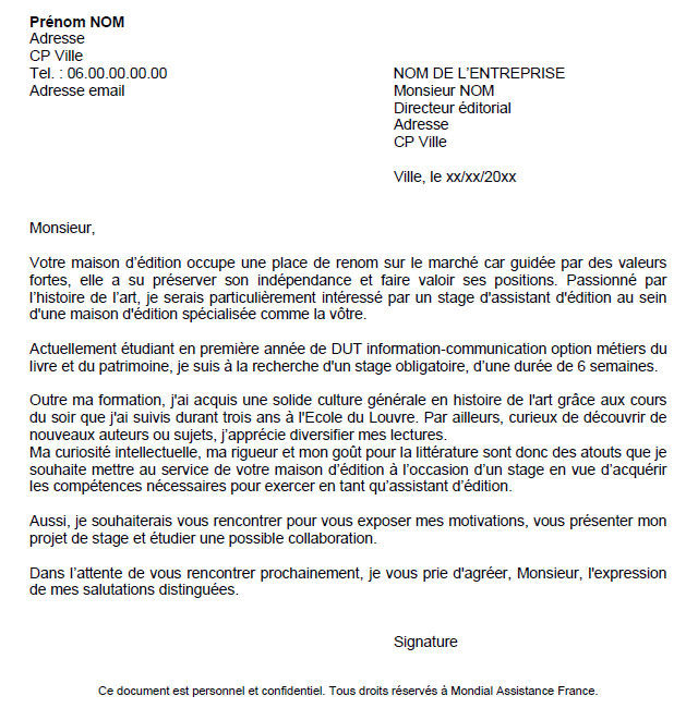 cover letter example  exemple de lettre de motivation gratuite pour candidature spontan u00e9e