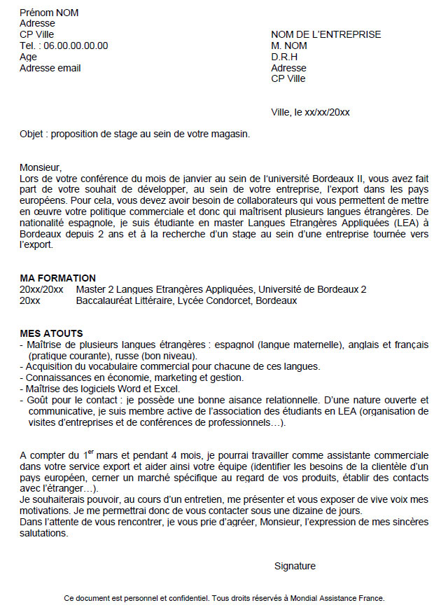 exemples de cv lettre de motivation