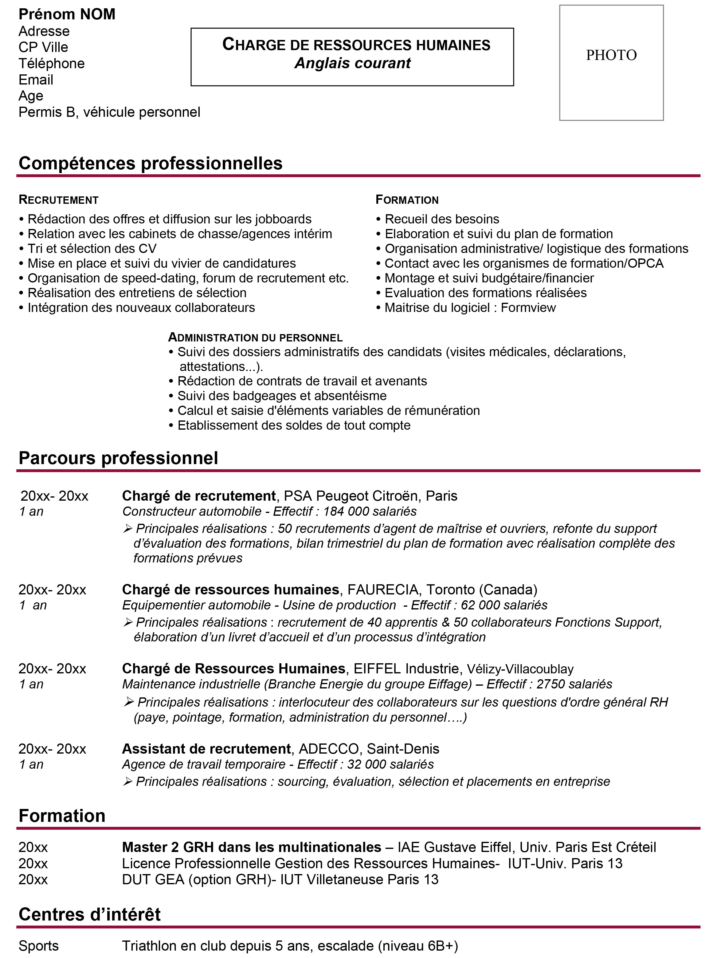 exemple de cv par comp u00e9tences